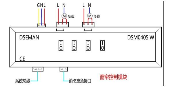 主要功能及参数: 电源:DC24V,用于CPU工作电源及网络工作电源。 输出: 4回路5A继电器开关输出,可控制2个独立窗帘。软硬件正反转互锁。可控制窗帘停在任何位置。可设置正反转延时关闭时间。 控制接口:1DSMENT总线,内置可编程逻辑控制器;1AUX可编程干触点控制。 信息恢复:设备遇到异常更换后无需重新配置信息,直接替换,维护简单。设备重启可保持掉电前的状态。 状态显示:LED指示CPU、通信状态及每个回路工作状态 工作环境:环境温度055,相对湿度10%90%(不结露) 安装方式:标准3